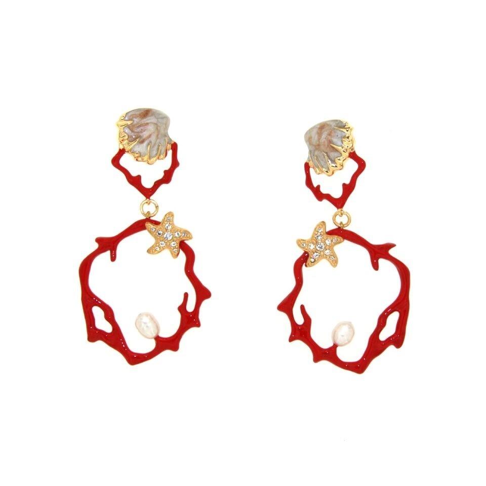 Argento Sicilia Bedda Orecchini Pendenti di Corallo Rosso e Cristallo Nero Prodotto realizzato a Mano