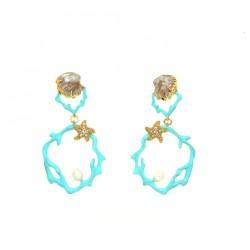 Orecchini di corallo turchese rotondo con vera perla