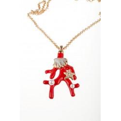 Pendente a forma di ramo di corallo rosso con conchiglia e due perle vere